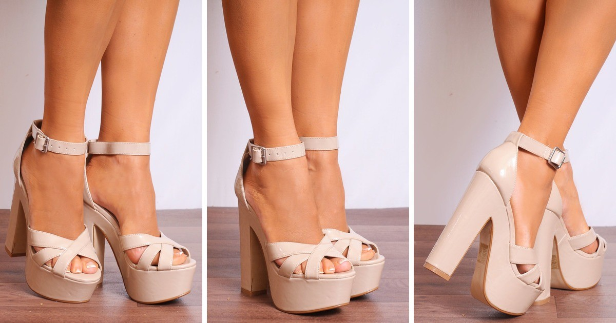 a3459ad423a Nude Patent Barely There Strappy Sandals High Heels Platforms. By Shoe  Closet