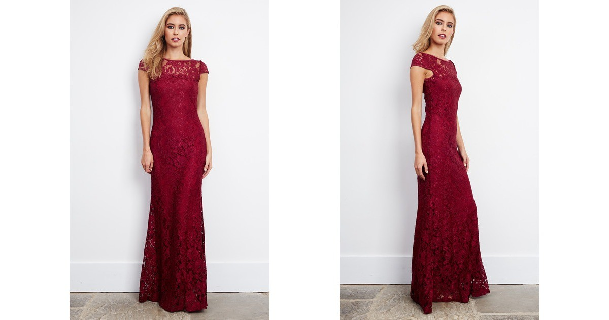 0fc05c276 Corded Lace Maxi Dress In Burgundy | D.Anna | SilkFred