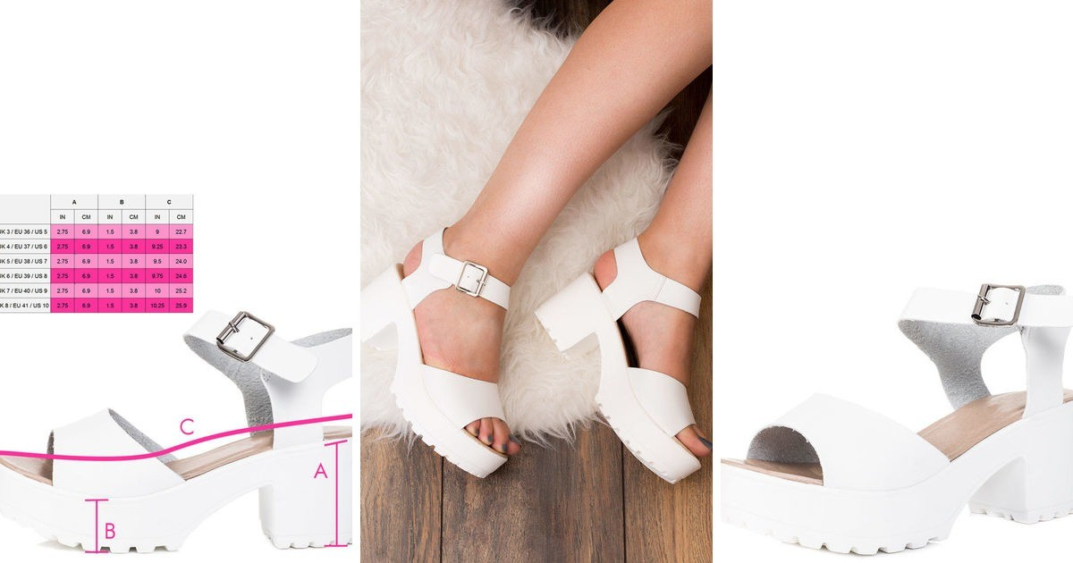 4ba49432f52 Akira Chunky Platform Block Heel Sandals Shoes White Leather Style