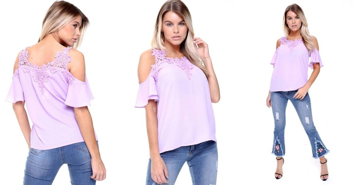 Lilac cold shoulder frill lace applique blouse top urban mist