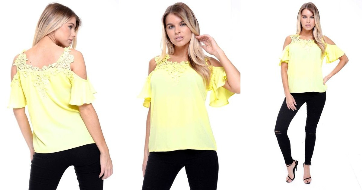 Yellow cold shoulder frill lace applique blouse top urban mist