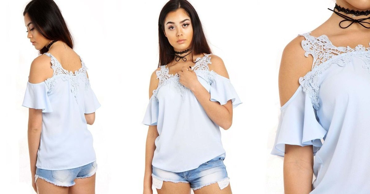 Powder blue cold shoulder frill lace applique blouse top urban