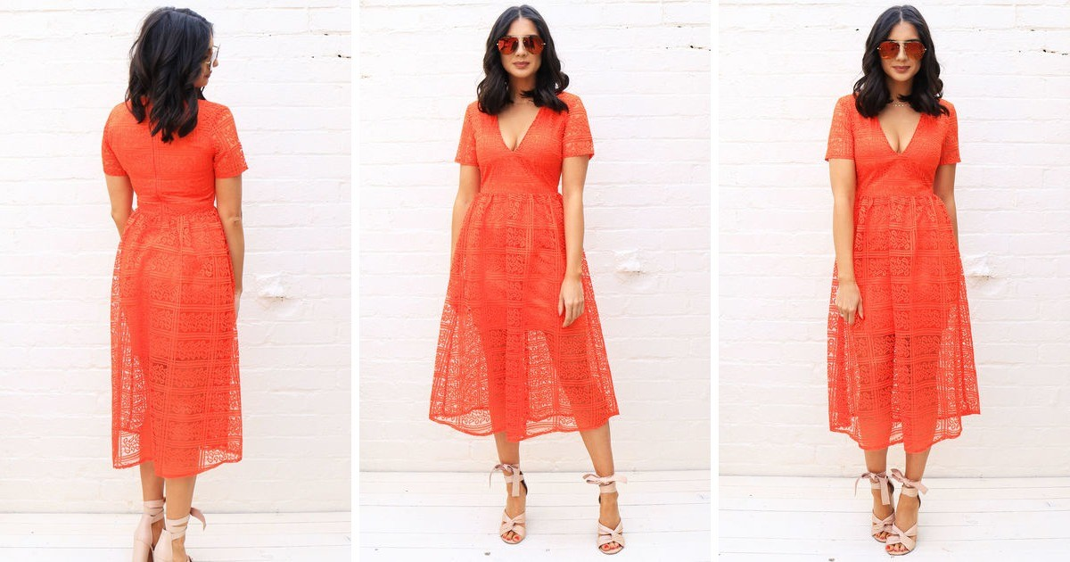 e4595dda17949 Lace Overlay V Neck Midi Dress With Full Skirt In Orange | One Nation  Clothing | SilkFred