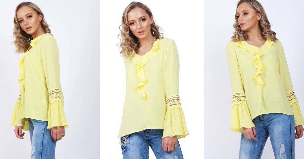 Yellow blouson ruffle lace applique sleeve blouse top urban mist