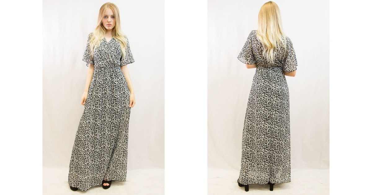 e633889f88 Grey Leopard Print Wrap Maxi Dress. By CY Boutique