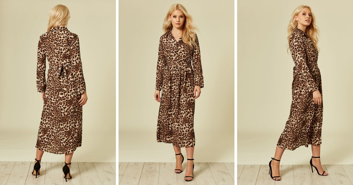 b32fac6f9a Brown Leopard Animal Print Long Sleeve Maxi Dress - SilkFred