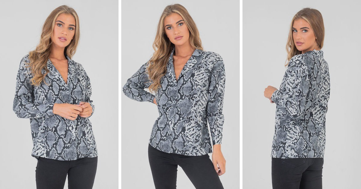 0fbfe287 Snake Print Long Sleeve Over Size Shirt Blouses Top In Blue | Saint Genies  | SilkFred