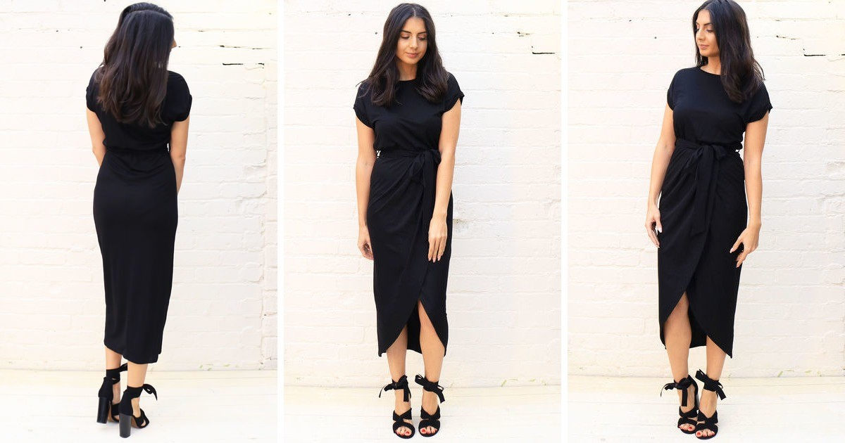4c31d8f78fe33 Jersey Midi T Shirt Dress With Curve Hem Wrap Skirt In Black | One Nation  Clothing | SilkFred