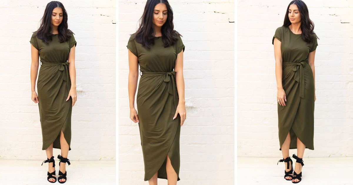 e8586f63d70eb Jersey Midi T Shirt Dress With Curve Hem Wrap Skirt In Kh... | One Nation  Clothing | SilkFred