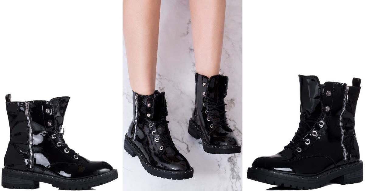 cbbc7caed Dillie Military Lace Up Flat Ankle Boots Shoes Black Pa... | SpyLoveBuy |  SilkFred