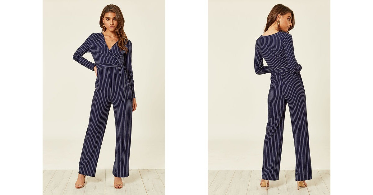 e4c921bc601 Navy Pinstripe Long Sleeved Jumpsuit