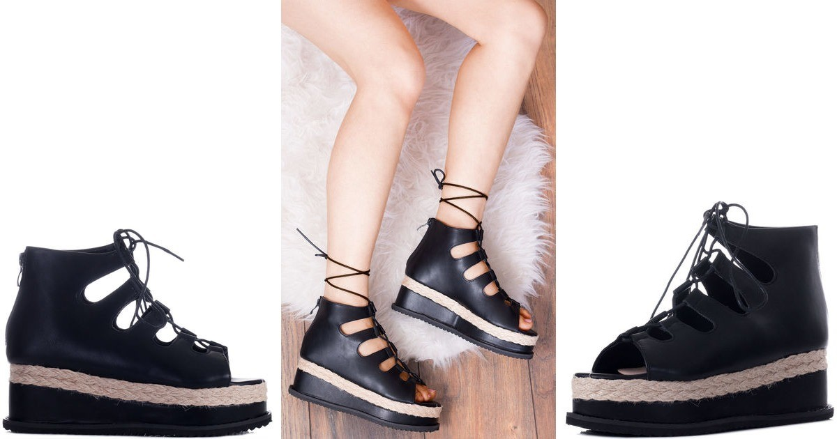 8eab4f29aca Bellow Lace Up Platform Sandals Shoes Black Leather Style ...