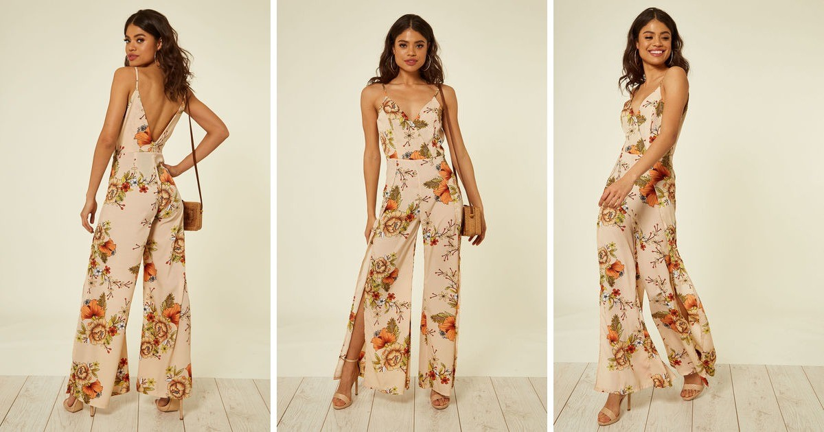 69ea6455c23f Nude And Orange Floral Print Jumpsuit | Oeuvre | SilkFred