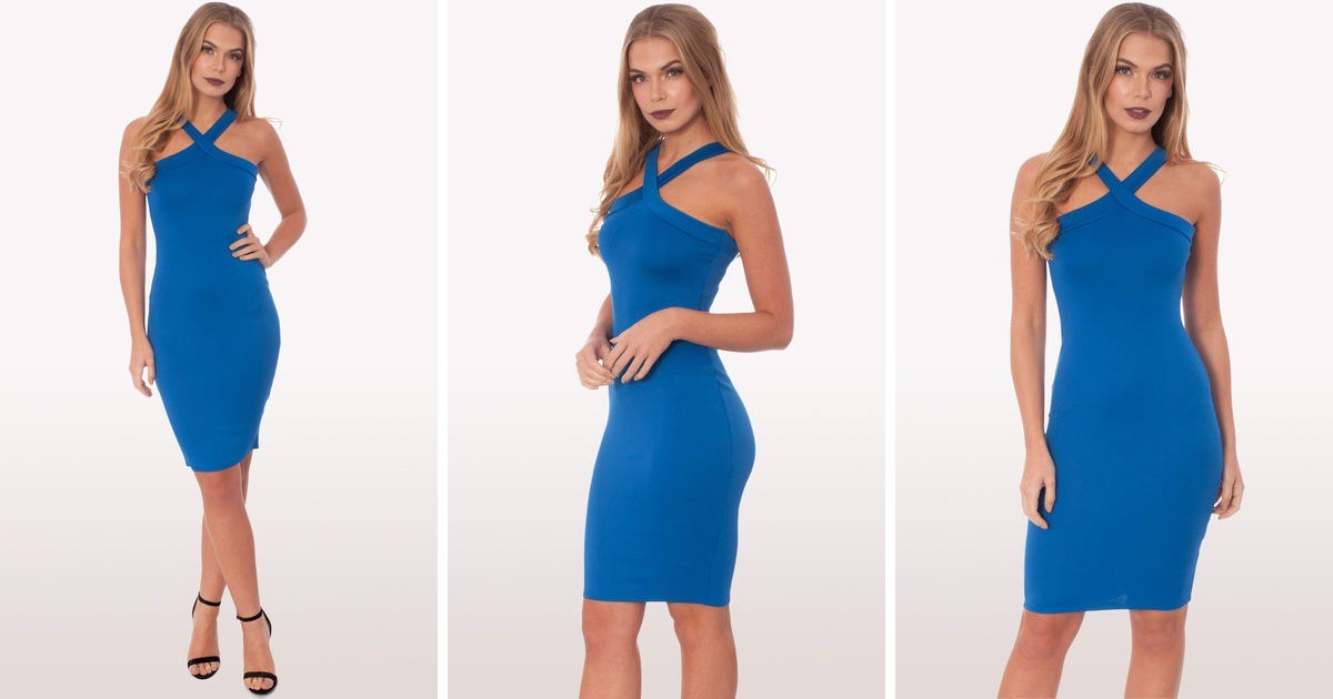 0356564f5e Zaria Royal Blue Scuba Bodycon Midi Dress