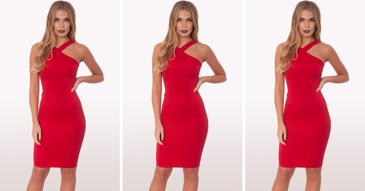 d52e2668ca Zaria Red Scuba Bodycon Midi Dress