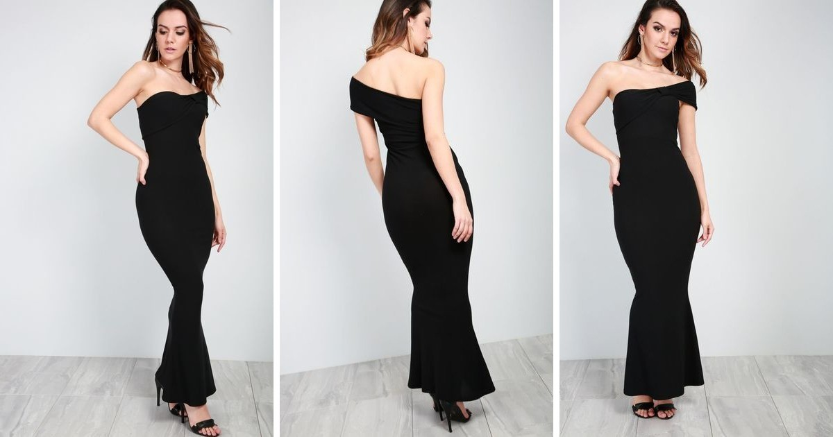 eb45aa4eb7 Black Bardot Bow One Shoulder Fishtail Maxi Dress | Oops Outlet | SilkFred