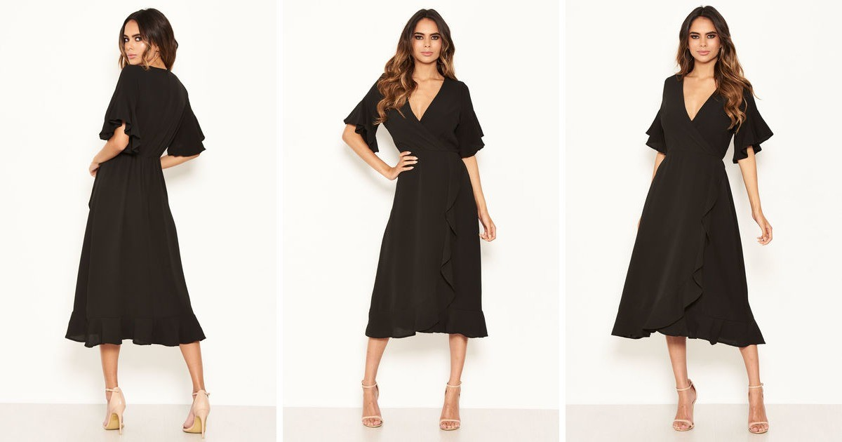 black-dress-with-frill-hem-and-sleeves by ax-paris