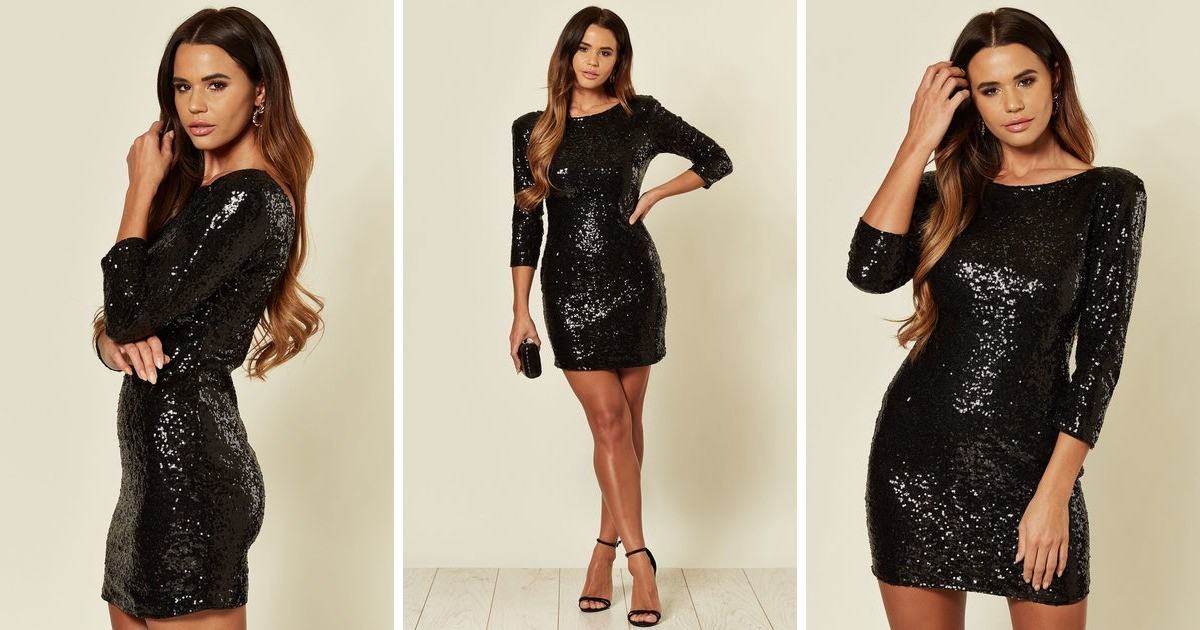 3/4 Sleeve Sequin Mini Dress In Black by Lovemystyle