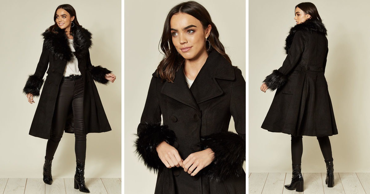 Black Double Breasted Skater Coat With Detachable Faux Fu | Hearts and Roses London | SilkFred