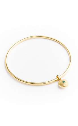 Medium gold dangle bangle by Becky Dockree Jewellery Product photo