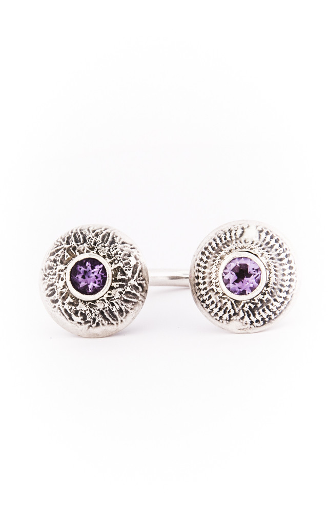 Silver Amethyste Double Dome Ring by Becky Dockree Jewellery