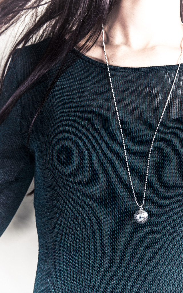 Silver Double Gem Dome Necklace by Becky Dockree Jewellery