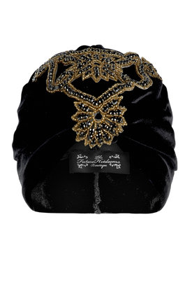 Black velvet turban with exotic detail by The Future Heirlooms Boutique Product photo