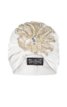Cream velvet turban with elegant coordinating bead applique  by The Future Heirlooms Boutique Product photo