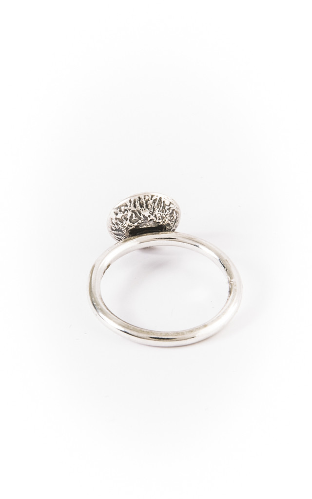 Medium Dome Ring with stone by Becky Dockree Jewellery