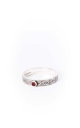 Small Etched Silver Band with Stone by Becky Dockree Jewellery
