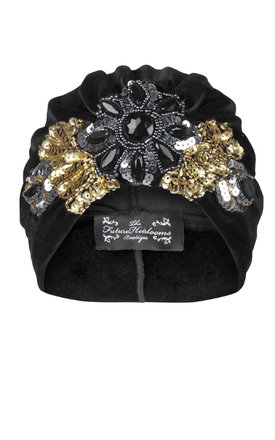 Black velvet turban with bold coordinating floral applique by The Future Heirlooms Boutique Product photo