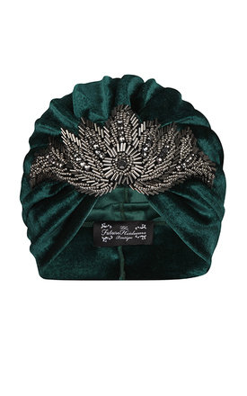Green velvet turban with bold gunmetal bead detail  by The Future Heirlooms Boutique Product photo