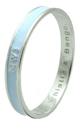 Nw3 postcode bangle by Whistle & Bango. Product photo