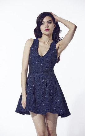 Navy blue skater dress by Liquorish Product photo