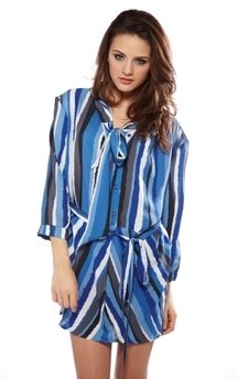 Pussybow boyfriend striped shirt dress by Liquorish Product photo