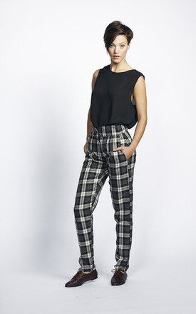black and white large tartan high waisted tapered trousers by Liquorish Product photo