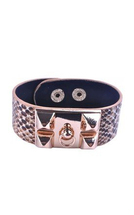 Brown snake pattern five stud cuff bracelet by Label MB Product photo