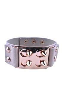 Beige four spike studded cuff bracelet by Label MB Product photo