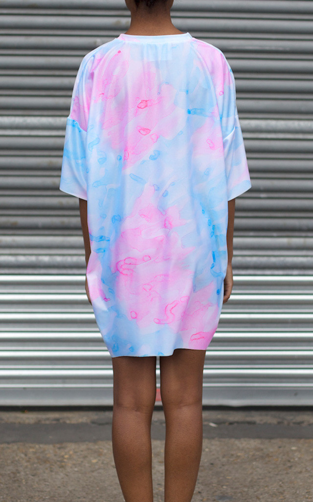 Pink + Blue Watercolour Tunic Dress by Klushka