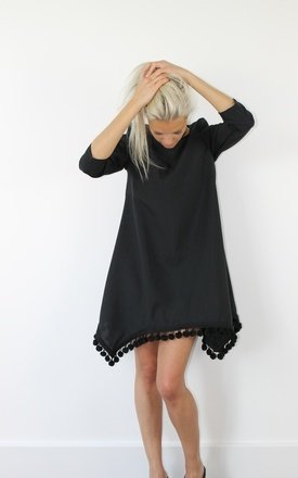 Black pom pom dress by Scarlett Black London Product photo