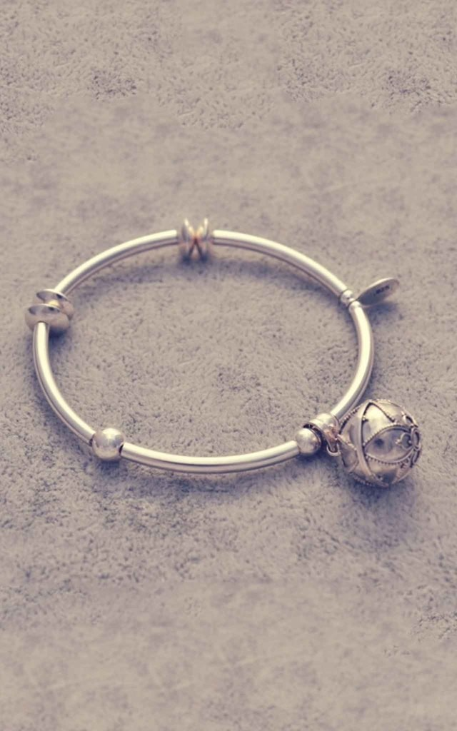 Sterling silver noodle bracelet with Bali charm ball by Alyssa Jewellery Design