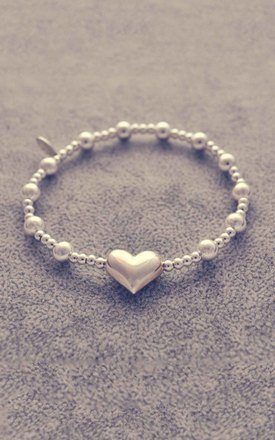 Sterling silver puff heart bracelet by Alyssa Jewellery Design Product photo