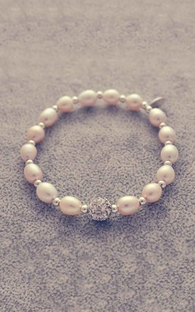 Sterling silver and pearl bracelet with glitter ball charm by Alyssa Jewellery Design Product photo