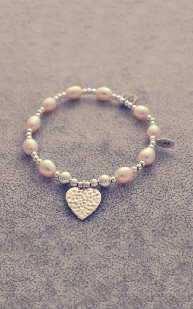 Sterling silver and pearl hammered heart bracelet by Alyssa Jewellery Design