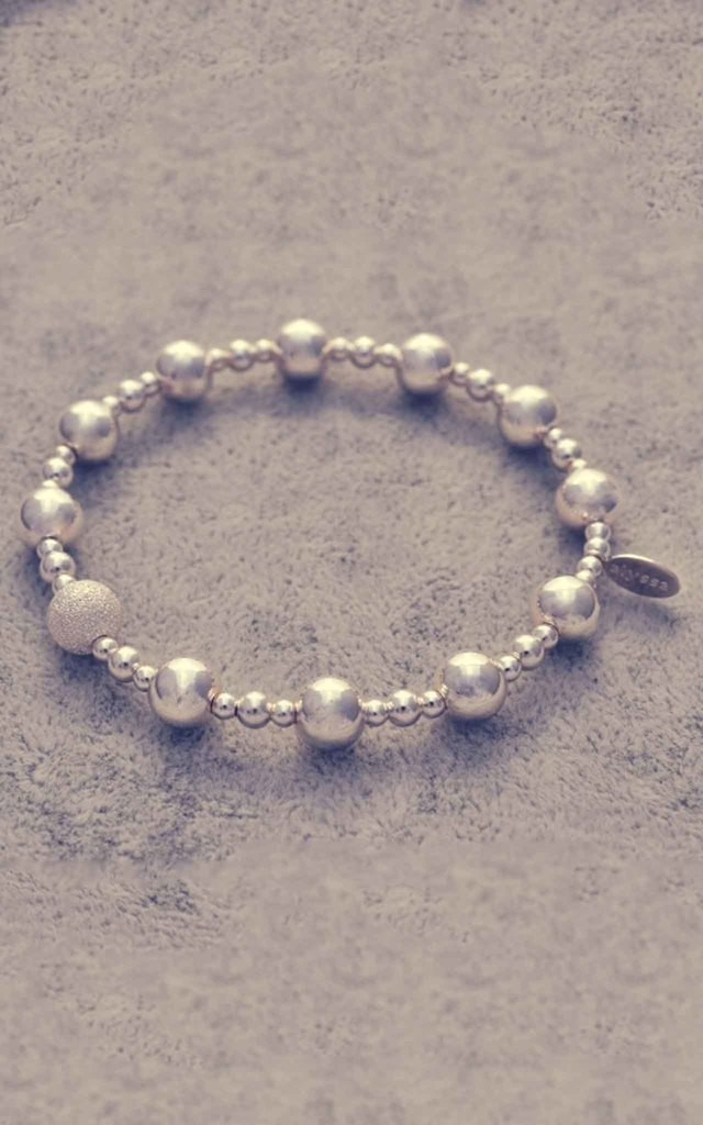 Sterling silver mixed ball bracelet with frosted ball charm by Alyssa Jewellery Design
