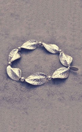 Multi hammered sterling silver leaf bracelet by Alyssa Jewellery Design Product photo