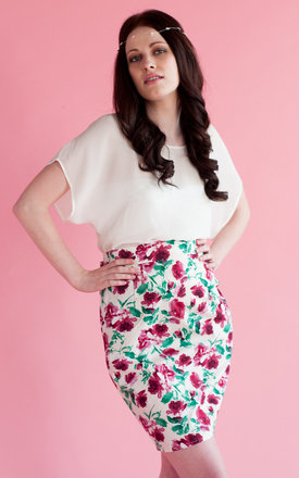 50s rose pencil skirt by Mollie Brown Product photo