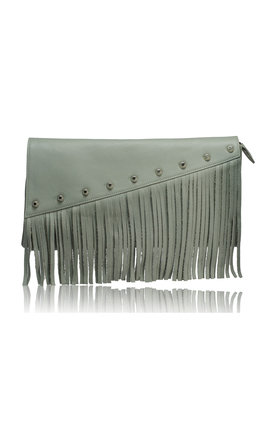 Raglan boho fringe clutch in grey by Driftwood Bags Product photo