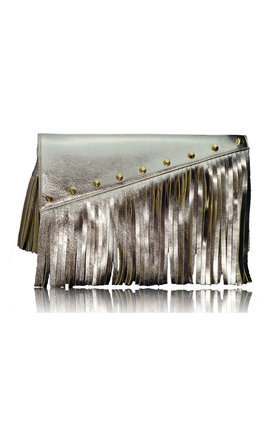 Raglan boho fringe clutch in gold leather by Driftwood Bags Product photo