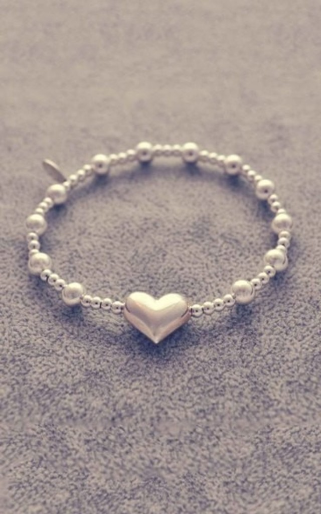 Sterling silver puff heart bracelet by Alyssa Jewellery Design